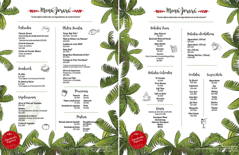 Menu restaurante Eco Hotel Finca La Jorara Sierra Nevada de Santa Marta en Palomino