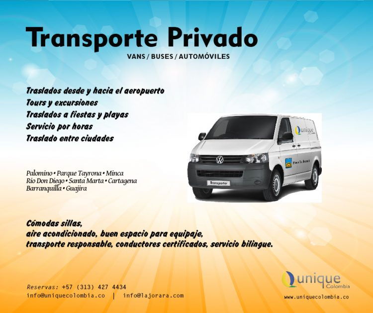 Servicio de transporte de Eco Hotel Finca La Jorará y Unique Colombia